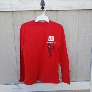 NWT GAP NYC Kids Red Graphic Cotton Long Sleeve